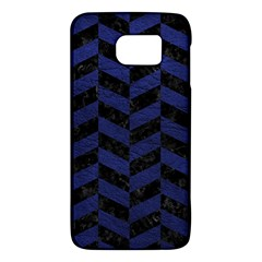 Chevron1 Black Marble & Blue Leather Samsung Galaxy S6 Hardshell Case  by trendistuff