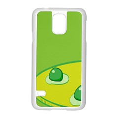 Food Egg Minimalist Yellow Green Samsung Galaxy S5 Case (white)