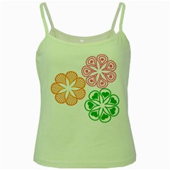 Flower Floral Love Valentine Star Pink Orange Green Green Spaghetti Tank