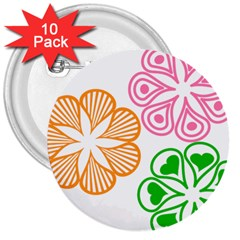 Flower Floral Love Valentine Star Pink Orange Green 3  Buttons (10 Pack)  by Alisyart