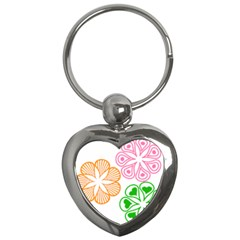 Flower Floral Love Valentine Star Pink Orange Green Key Chains (heart)  by Alisyart