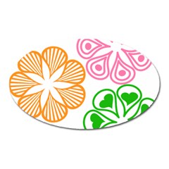 Flower Floral Love Valentine Star Pink Orange Green Oval Magnet by Alisyart