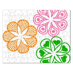 Flower Floral Love Valentine Star Pink Orange Green Rectangular Jigsaw Puzzl by Alisyart