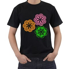 Flower Floral Love Valentine Star Pink Orange Green Men s T Shirt (black) (two Sided) by Alisyart
