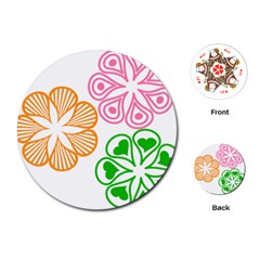 Flower Floral Love Valentine Star Pink Orange Green Playing Cards (round)  by Alisyart
