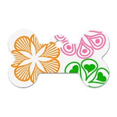 Flower Floral Love Valentine Star Pink Orange Green Dog Tag Bone (two Sides) by Alisyart