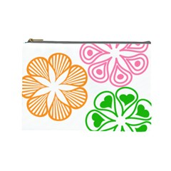 Flower Floral Love Valentine Star Pink Orange Green Cosmetic Bag (large)