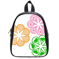 Flower Floral Love Valentine Star Pink Orange Green School Bags (small)  by Alisyart