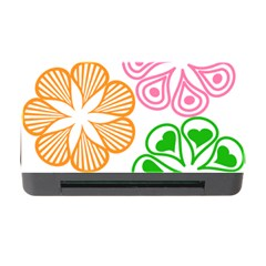 Flower Floral Love Valentine Star Pink Orange Green Memory Card Reader With Cf by Alisyart