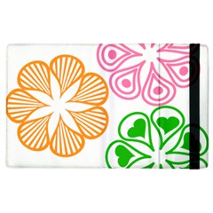 Flower Floral Love Valentine Star Pink Orange Green Apple Ipad 2 Flip Case by Alisyart