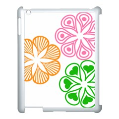 Flower Floral Love Valentine Star Pink Orange Green Apple Ipad 3/4 Case (white)
