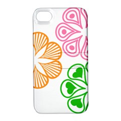 Flower Floral Love Valentine Star Pink Orange Green Apple Iphone 4/4s Hardshell Case With Stand by Alisyart