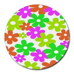 Flowers Floral Sunflower Rainbow Color Pink Orange Green Yellow Round Mousepads