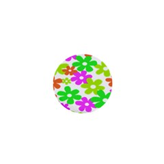 Flowers Floral Sunflower Rainbow Color Pink Orange Green Yellow 1  Mini Buttons
