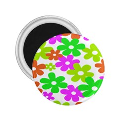 Flowers Floral Sunflower Rainbow Color Pink Orange Green Yellow 2 25  Magnets