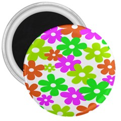 Flowers Floral Sunflower Rainbow Color Pink Orange Green Yellow 3  Magnets by Alisyart