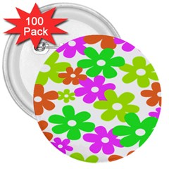 Flowers Floral Sunflower Rainbow Color Pink Orange Green Yellow 3  Buttons (100 Pack)  by Alisyart