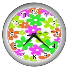 Flowers Floral Sunflower Rainbow Color Pink Orange Green Yellow Wall Clocks (silver)  by Alisyart