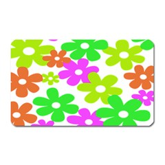 Flowers Floral Sunflower Rainbow Color Pink Orange Green Yellow Magnet (rectangular)