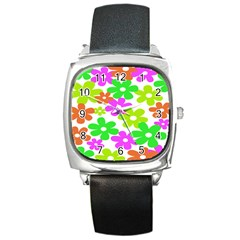 Flowers Floral Sunflower Rainbow Color Pink Orange Green Yellow Square Metal Watch by Alisyart