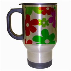 Flowers Floral Sunflower Rainbow Color Pink Orange Green Yellow Travel Mug (silver Gray) by Alisyart
