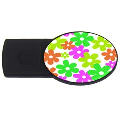 Flowers Floral Sunflower Rainbow Color Pink Orange Green Yellow Usb Flash Drive Oval (4 Gb) by Alisyart