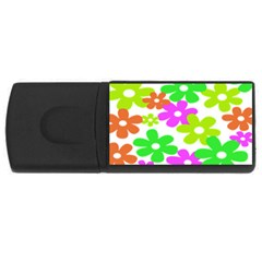 Flowers Floral Sunflower Rainbow Color Pink Orange Green Yellow Usb Flash Drive Rectangular (4 Gb)