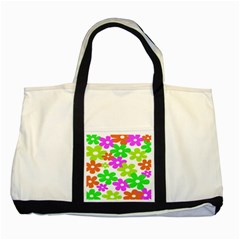 Flowers Floral Sunflower Rainbow Color Pink Orange Green Yellow Two Tone Tote Bag