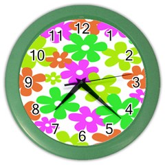 Flowers Floral Sunflower Rainbow Color Pink Orange Green Yellow Color Wall Clocks