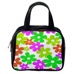 Flowers Floral Sunflower Rainbow Color Pink Orange Green Yellow Classic Handbags (one Side) by Alisyart