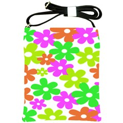 Flowers Floral Sunflower Rainbow Color Pink Orange Green Yellow Shoulder Sling Bags