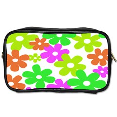 Flowers Floral Sunflower Rainbow Color Pink Orange Green Yellow Toiletries Bags 2 Side