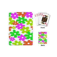 Flowers Floral Sunflower Rainbow Color Pink Orange Green Yellow Playing Cards (mini)  by Alisyart