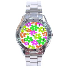 Flowers Floral Sunflower Rainbow Color Pink Orange Green Yellow Stainless Steel Analogue Watch