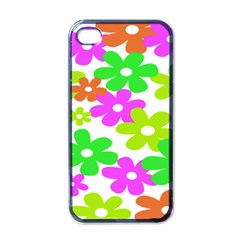 Flowers Floral Sunflower Rainbow Color Pink Orange Green Yellow Apple Iphone 4 Case (black) by Alisyart