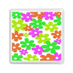 Flowers Floral Sunflower Rainbow Color Pink Orange Green Yellow Memory Card Reader (square)