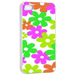 Flowers Floral Sunflower Rainbow Color Pink Orange Green Yellow Apple Iphone 4/4s Seamless Case (white)