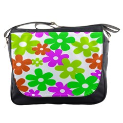 Flowers Floral Sunflower Rainbow Color Pink Orange Green Yellow Messenger Bags by Alisyart