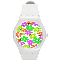 Flowers Floral Sunflower Rainbow Color Pink Orange Green Yellow Round Plastic Sport Watch (m)