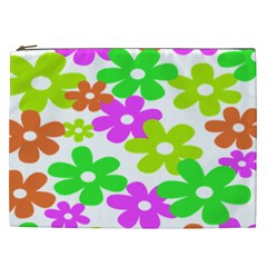 Flowers Floral Sunflower Rainbow Color Pink Orange Green Yellow Cosmetic Bag (xxl)
