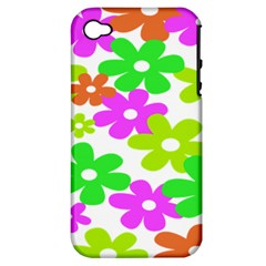 Flowers Floral Sunflower Rainbow Color Pink Orange Green Yellow Apple Iphone 4/4s Hardshell Case (pc+silicone)
