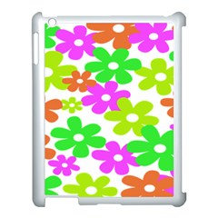 Flowers Floral Sunflower Rainbow Color Pink Orange Green Yellow Apple Ipad 3/4 Case (white) by Alisyart