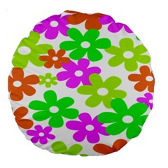 Flowers Floral Sunflower Rainbow Color Pink Orange Green Yellow Large 18  Premium Round Cushions