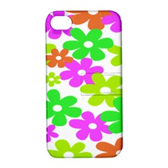 Flowers Floral Sunflower Rainbow Color Pink Orange Green Yellow Apple Iphone 4/4s Hardshell Case With Stand