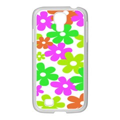 Flowers Floral Sunflower Rainbow Color Pink Orange Green Yellow Samsung Galaxy S4 I9500/ I9505 Case (white)