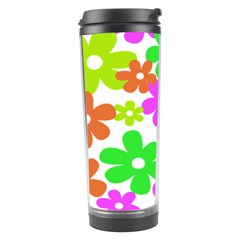 Flowers Floral Sunflower Rainbow Color Pink Orange Green Yellow Travel Tumbler by Alisyart