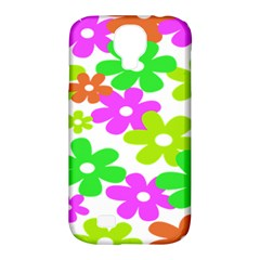 Flowers Floral Sunflower Rainbow Color Pink Orange Green Yellow Samsung Galaxy S4 Classic Hardshell Case (pc+silicone) by Alisyart