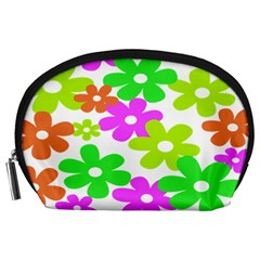 Flowers Floral Sunflower Rainbow Color Pink Orange Green Yellow Accessory Pouches (large)  by Alisyart
