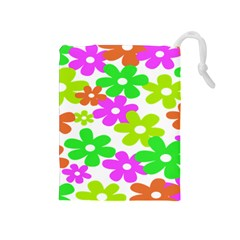Flowers Floral Sunflower Rainbow Color Pink Orange Green Yellow Drawstring Pouches (medium)
