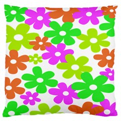 Flowers Floral Sunflower Rainbow Color Pink Orange Green Yellow Large Flano Cushion Case (two Sides)